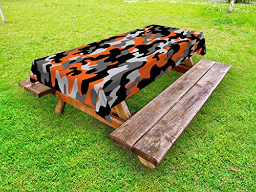 Ambesonne Camo Outdoor Tablecloth, Vibrant Artistic Camouflage Lattice Like Service Theme Modern Design Print, Decorative Washable Picnic Table Cloth, 58 X 104 inches, Orange Grey Black