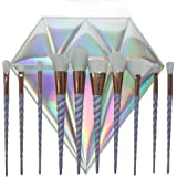 Elephant Xu10Pcs Unicorn Design Handle Shape Makeup Brushes Tools Set White Hair Synthetic Foundation Brush Eyeshadow Blusher with Diamond Bag