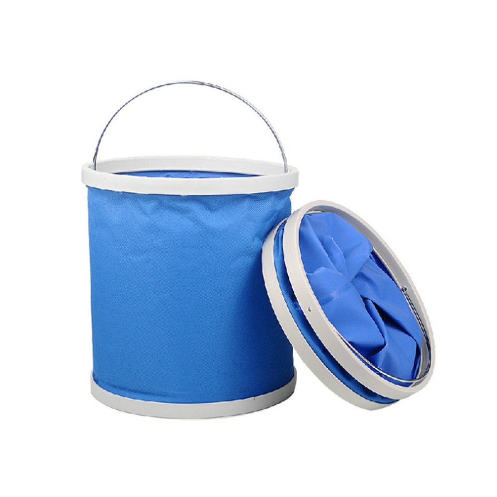 Mokylor Collapsible Bucket, 11L Outdoor Portable Folding Pail Fishing Cleaning Water Container with Lid and Handle for Camping, Hiking, Travel, Fishing, Car Washing, Flower Watering