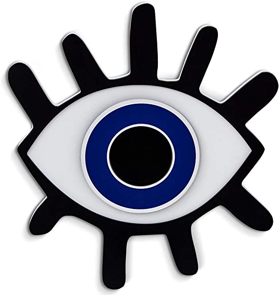 4ArtWorks – Evil Eye with Lashes 3D Wall Art – Black, Blue Silver Mirror Gloss Finish – Good Luck Protection Charm for Your House – Made in The USA – Modern Home Decor 21 W x 24 T, Black Blue
