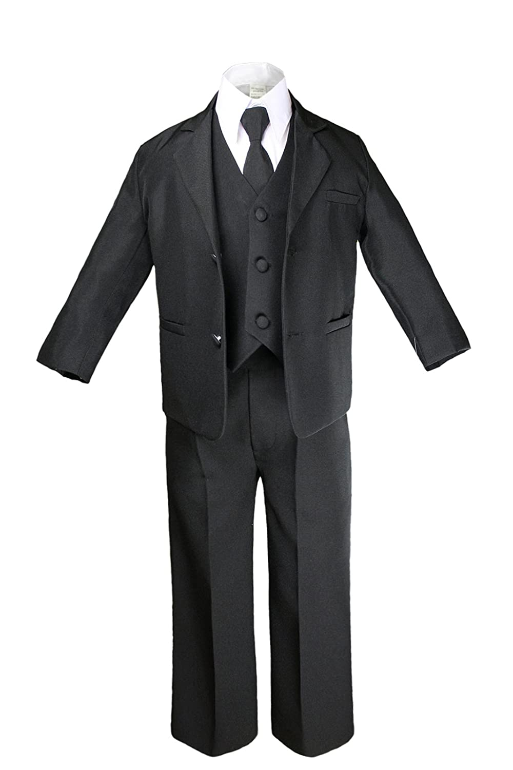 New 7pc Boys Black Suit with Satin Yellow Vest Set from Baby to Teen 2T