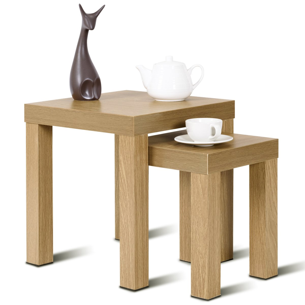 Giantex Accent Nesting End Table Set Wood Color Home Kitchen Decor Casual Style Living Room Furniture Sofa Side Nesting Coffee Tables, 2 PCS (Hollow Core Slab) by Giantex