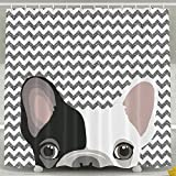 Cute French Bulldog 100% Polyester Shower Curtain Waterproof Fabric Bathroom Decor Shower Curtain 60''X72'',72''x72'' And 72''X78'' Inches Included Rings Shower Curtains