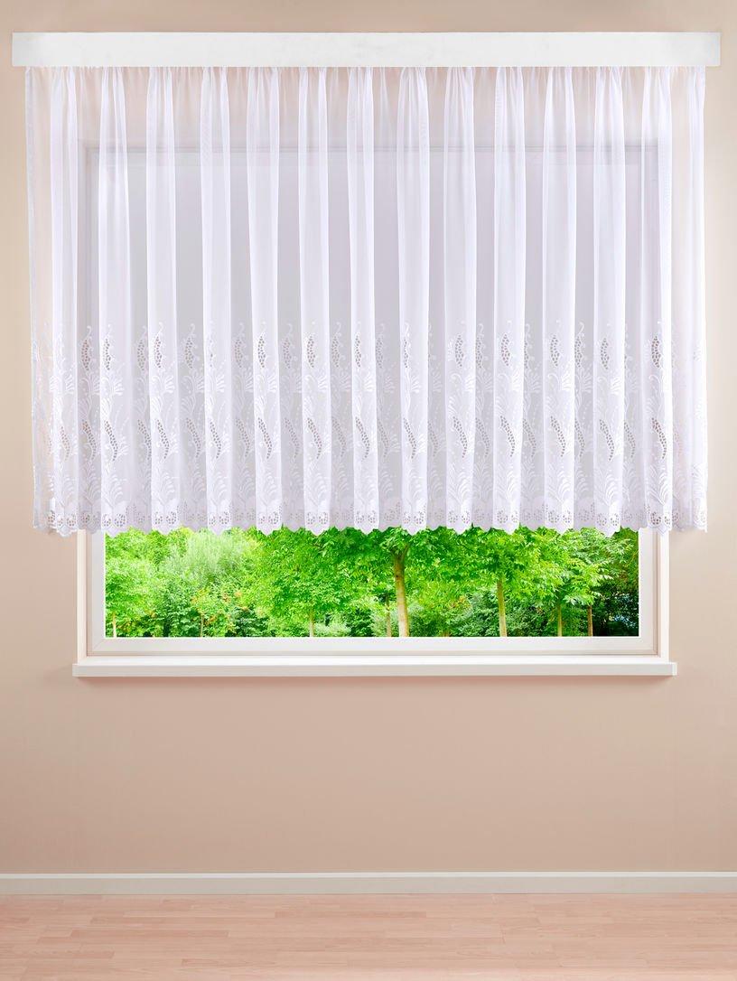 Plauener Spitze Brigitte Gardine Vorhang Blumenfenster Weiß H 125 x B 600 cm
