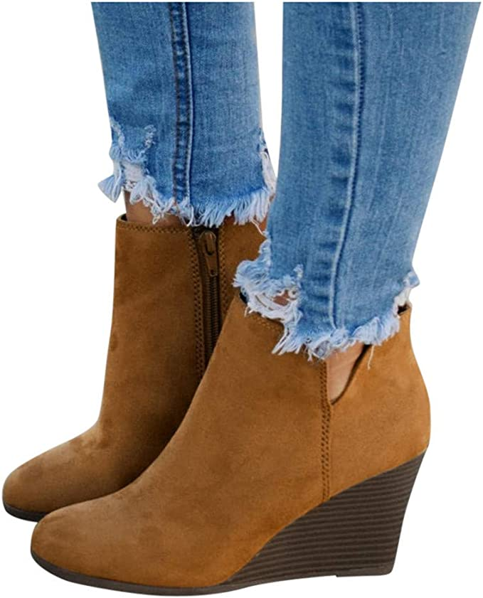 Details about  /Women Ankle Boots Mid Block Heels Buckle Booties Vintage Casual Party Shoes Size