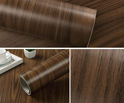Negro cereza Grano de madera papel de contacto adhesivo estante ...