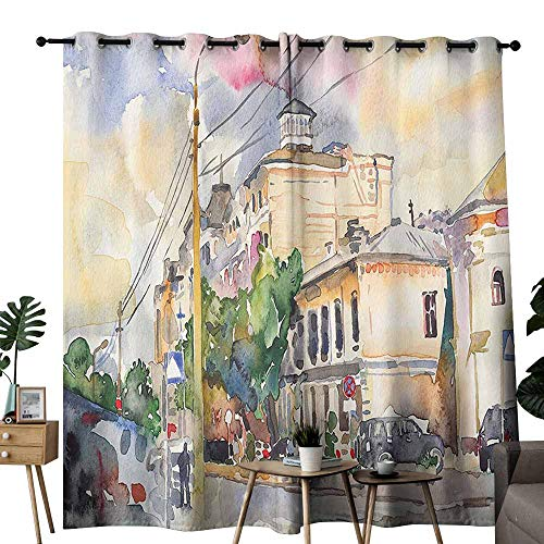 duommhome Urban Living Room Curtain Watercolor Painting of a City Street with Buildings and Cars Soft Artistic Display Block Light Protection Privacy W72 xL72 Multicolor ()