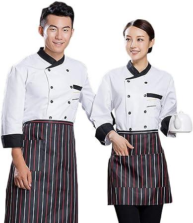 WYCDA Chef/Cocinero Manga Larga Negro Blanco Rojo Cocina Uniforme Camisa de Cocinero Cuello Cómodo con Bolsillo Frontal en El Pecho Apto para Restaurantes del Hotel,Blanco,M: Amazon.es: Hogar