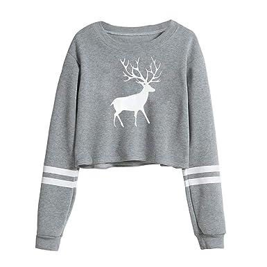 Bestow Dama de Invierno Elk Cuello Redondo Manga Larga Camisa suéter Tops Blusa Chaleco Sudadera: Amazon.es: Ropa y accesorios