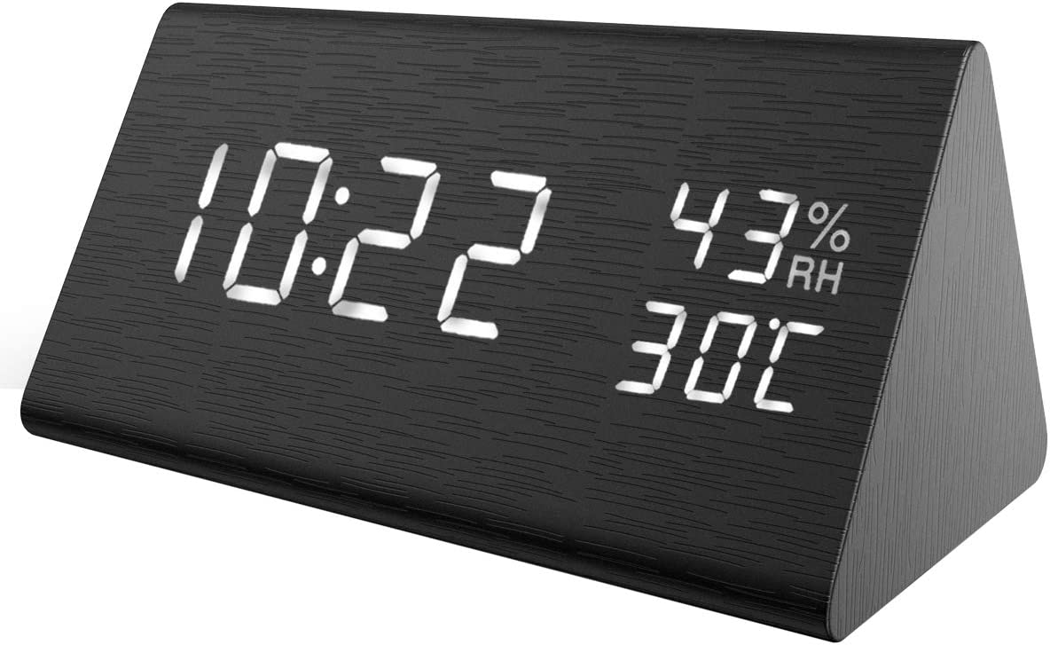 KeeKit Digital Alarm Clock, Wooden LED Desktop Clock with Temperature Humidity Monitor, Electronic Bedroom Clock with Time Display, Voice Control, 3 Levels Brightness, Alarm Settings for Home, Bedside