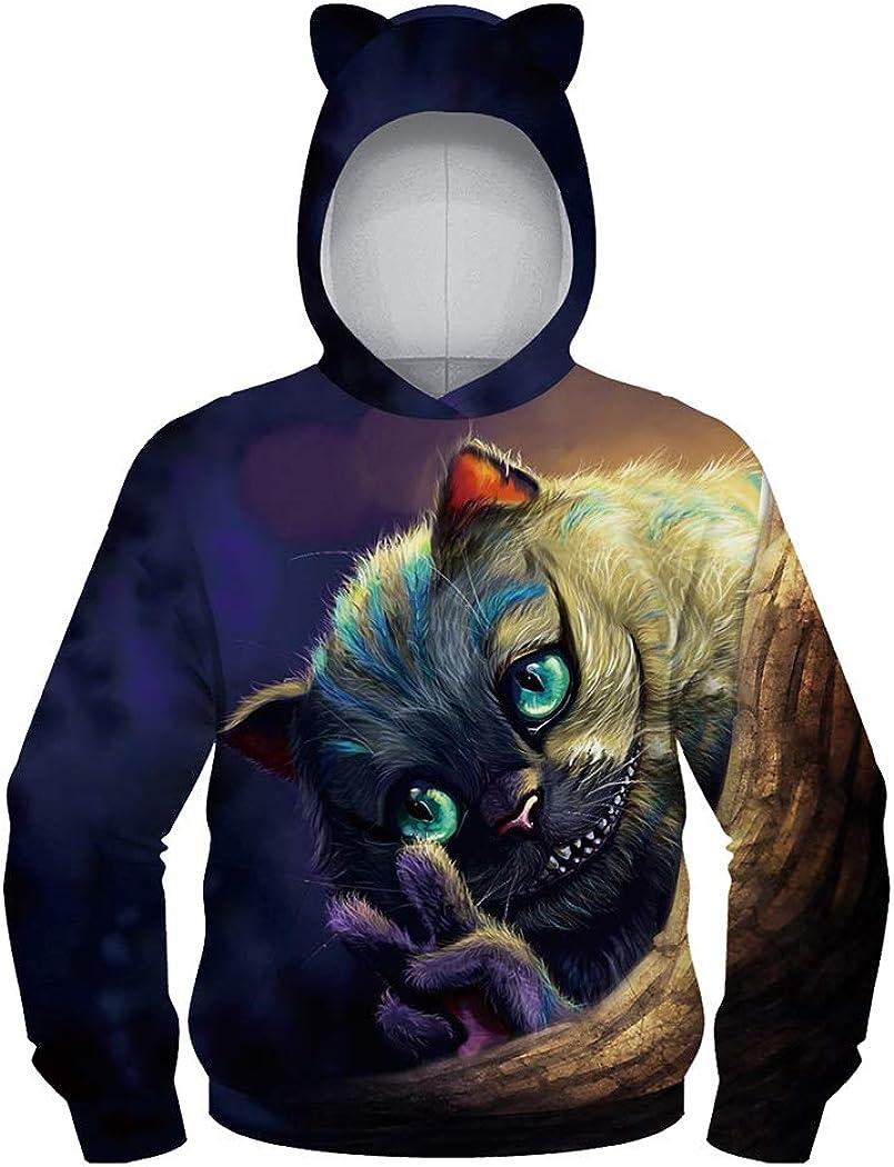 JSJCHENG Unisex Novelty 3D Animal Print Pullover Girls Hoodie Hooded Sweatshirt