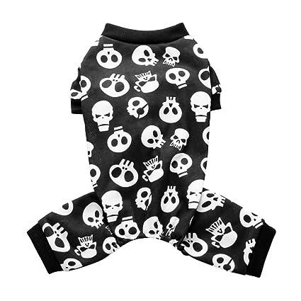 YouN Funny Dog Clothes Traje de Mascota de Calavera de Halloween Abrigo de Cachorro de Cuatro