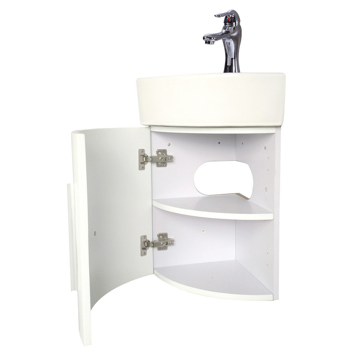 White Wall Mount Corner Cabinet Sink Faucet And Drain Combo Set Included Space Saving Design Renovators Supply