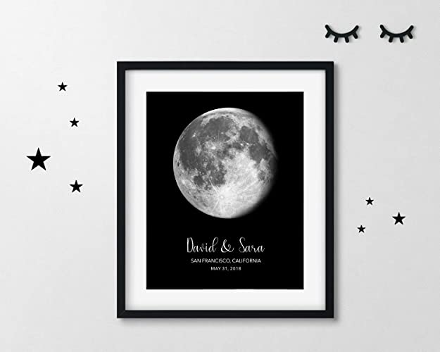 Personalized Lunar Phase of Love | Custom Moon Phase Anniversary Gift | Where We Met | Wedding Location | Your First Date | Your First Kiss