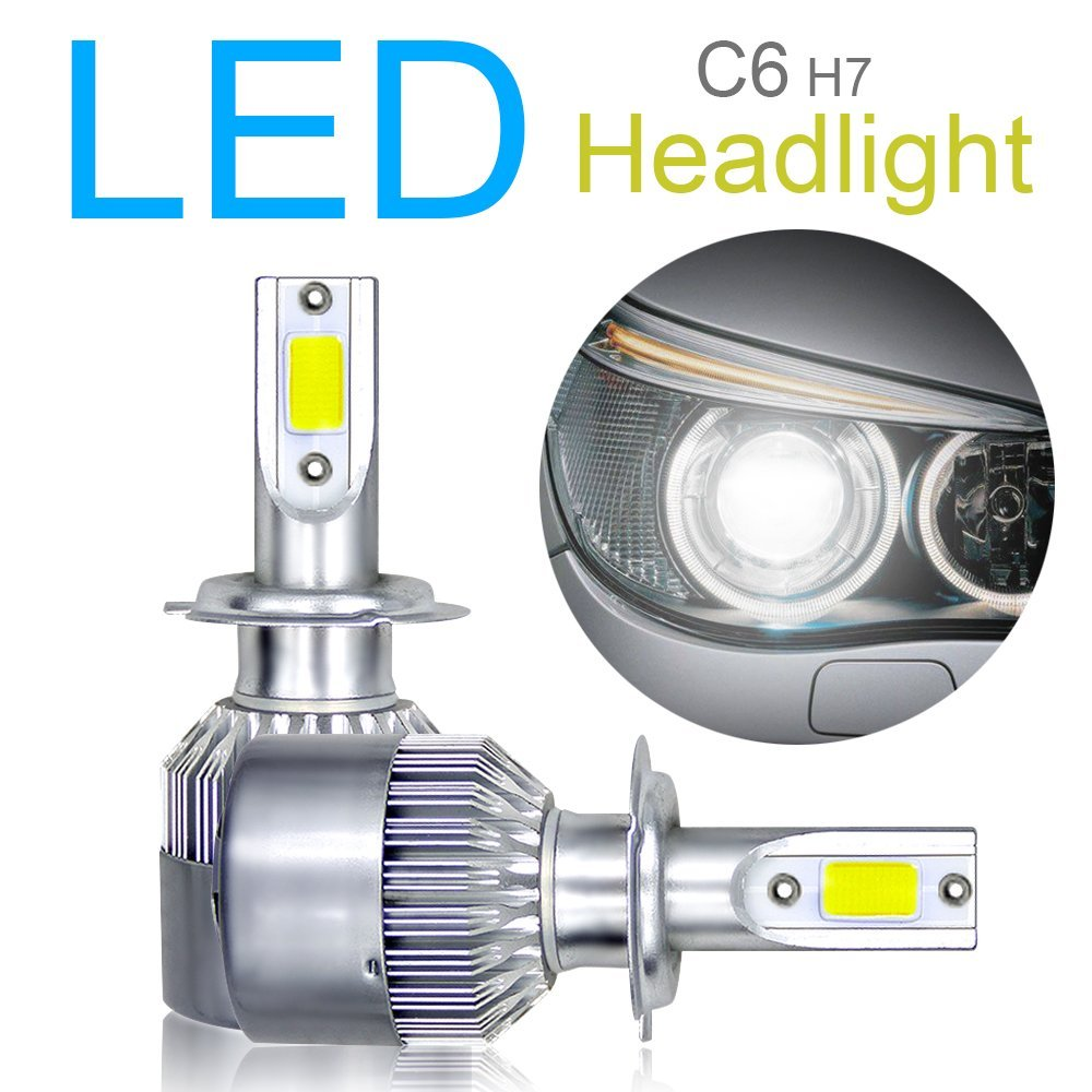 2pcs H7 LED Headlight Bulbs Conversion Kit, Advanced COB Chips High/Low Beam/Fog Light Bulbs 10800LM 6000K 120W Super Bright White ePathChina®