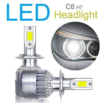 Juego de 2 bombillas LED H7 para faros delanteros, chip COB avanzado, haz alto
