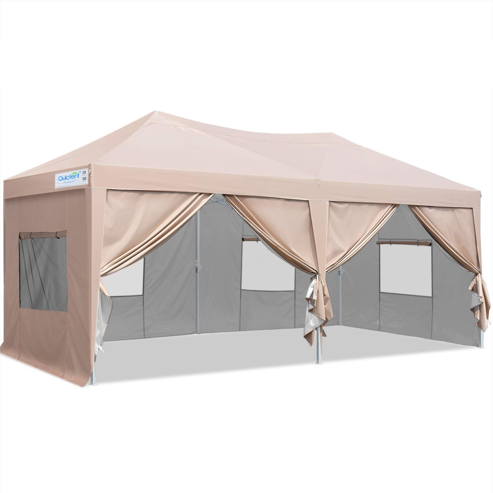 Quictent Privacy 10x20 ft Ez Pop up Canopy Tent Enclosed Instant Shelter Party Tent Event Gazebo with Sidewalls Waterproof (Beige)