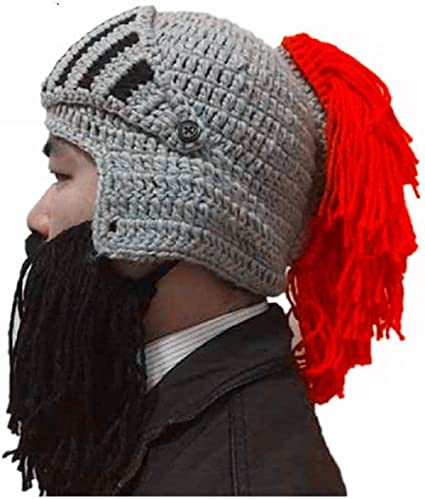 33f1e007d40 BIBITIME Cosplay Roman Knight Knitted Helmet with Beard Tassel Hat Visor  Beanie Mask Winter Ski Sports