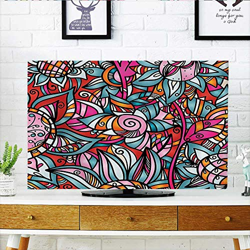 Auraisehome Cord Cover for Wall Mounted tv Abstract Florals Sunflower Mosaic Curl Ornaments Stained Glass Cover Mounted tv W32 x H51 INCH/TV 55