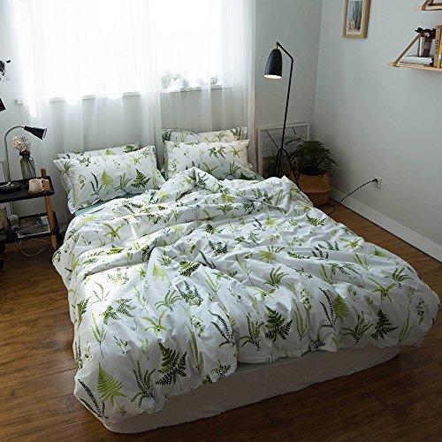 da2fda0ec5 chic EAVD 100% Cotton Bedding Set Green Leaf Reversible Kids Adult 3PCS  Printing Leaves