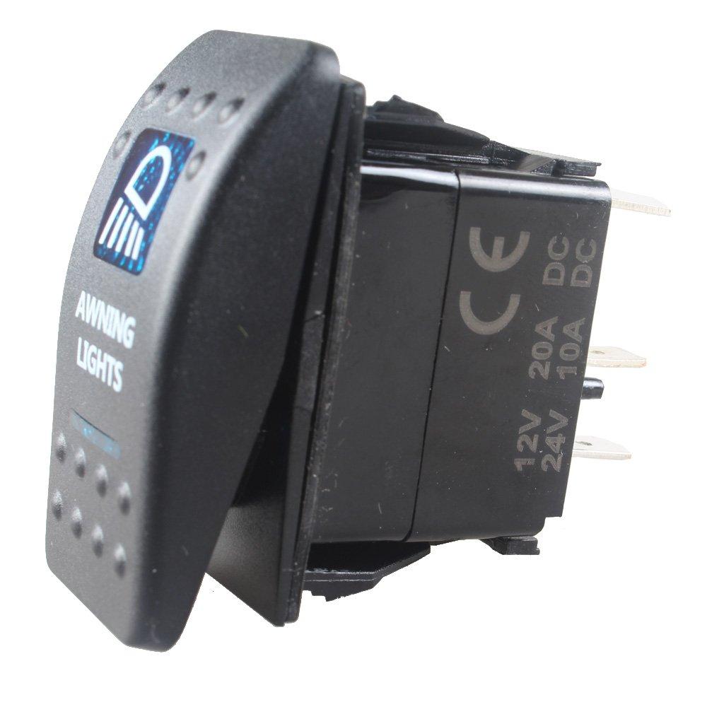 HOUTBY/™ auto 12V 20A 24V 10A blu interruttore a bilanciere luce 5Pin Awning Light