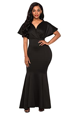 FUSENFENG Women\'s Plus Size Off Shoulder Mermaid Formal Party Long ...