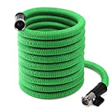Garden Hose, inGarden 100Ft Expandable Garden Water Hose Set with 3/4 Inch Shutoff Valve Nickel Plating Solid Brass Connector End, Anti-Rust Green Expanding Hose Heavy Duty with Storage Bag