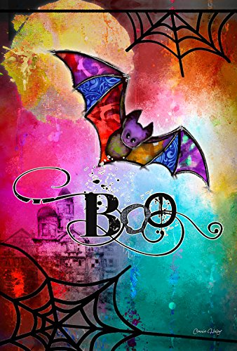 Toland Home Garden Boo Bat 12.5 x 18 Inch Decorative Colorful Halloween Spider Web Garden Flag ()