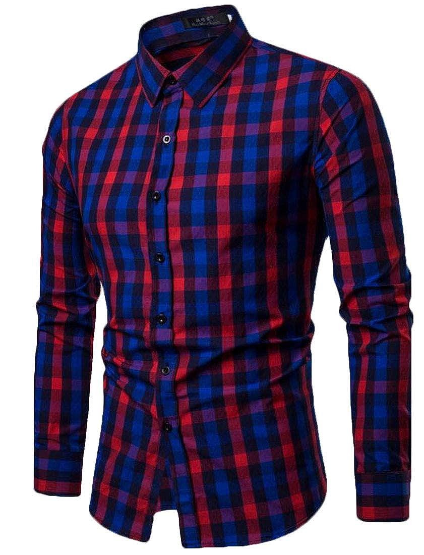 XTX Mens Button Up Plaid Check Formal Long Sleeve Stylish Dress Shirts