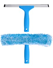 """MR.SIGA Professional Window Cleaning Combo - Squeegee & Microfiber Window Scrubber, 10"""""""