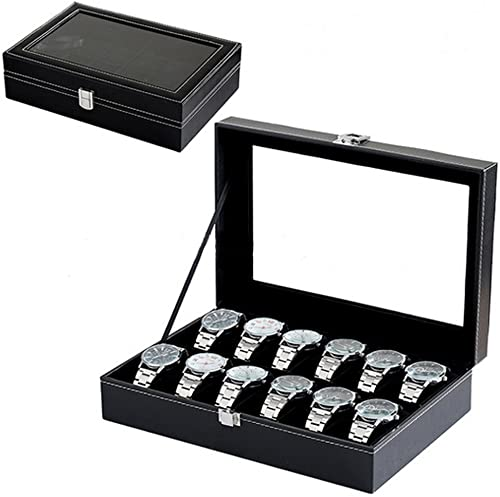 Glass Top Watch Display Box,12 Grid Case Jewelry Storage Organizer For Watches Black