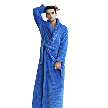 1d6feb1345 Bathrobe Men Dressing Gown Towelling Terry Fluffy Boy Luxury Long Plus Size  Pyjamas For Spa Bath (Color   Blue B