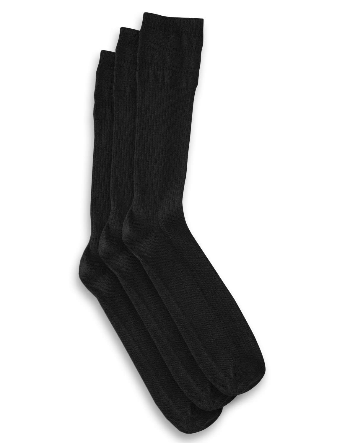 Harbor Bay by DXL Big and Tall Non-Elastic Crew Socks 3-Pack (13-16, Black)