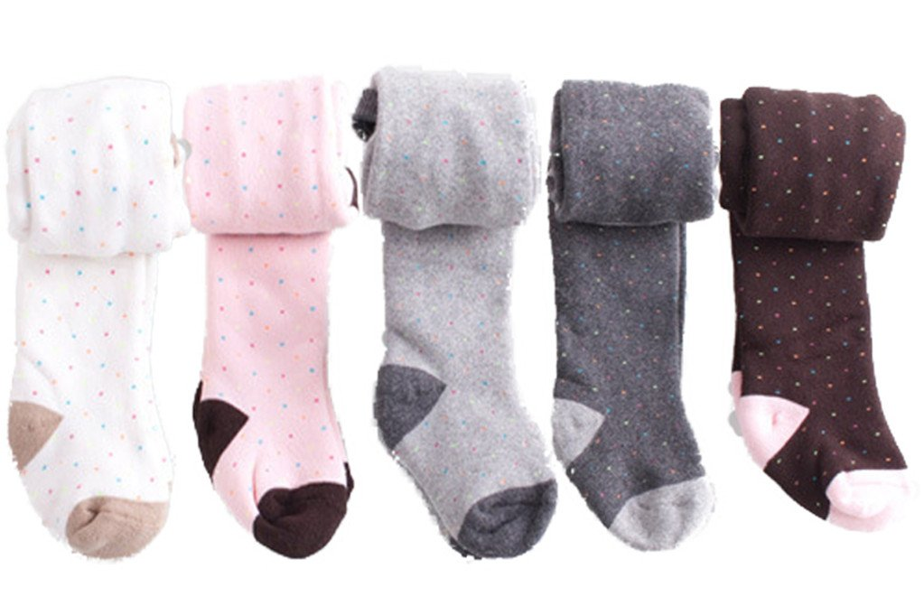 5 Pcs of Kids Baby Toddler Girls Small Dots Combed Cotton Tights Leggings Panties 0-6 Months by JELEUON