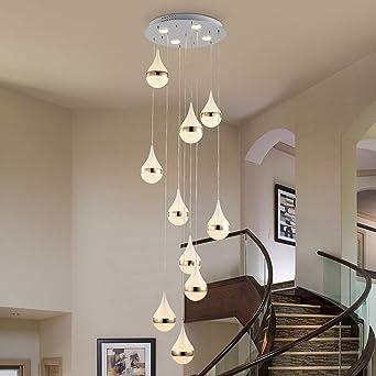 Escalera Pasillo Lámpara colgante Luz colgante de techo bola Moderno Creativo LED Blanco cálido Sala de estar Comedor Araña Loft Hall Hotel Tienda Decoración Lámpara,10lights: Amazon.es: Iluminación