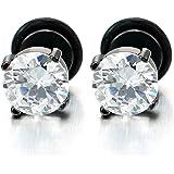 5-9MM Blanc Zircon Cubique - Noir Clous d'oreille - Boucles d'oreilles Homme Femme - Mixte - Acier 1 Paire