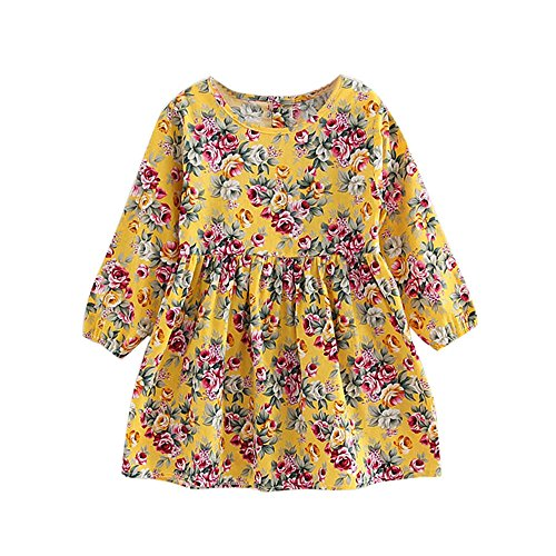 Birdfly Little Girl Long Sleeve Floral Princess Dress Kids Casual Fun Dresses for Fall School Party (Mustard, 6-7T)