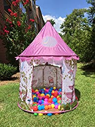 Playz Sunroof Princess Castle Play Tent with Tunnel and Case
