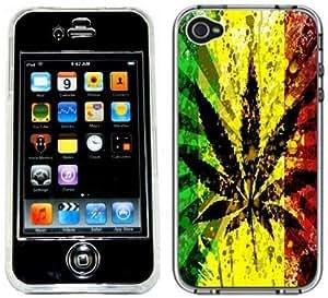 Rasta Pot Leaf Handmade iPhone 4 4S Full Hard Plastic Case