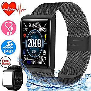 Duperym Smart Watch with Blood Pressure Heart Rate Monitor Men Women Wrist Wearable Watch for Boy Girl Sports Outdoors Activity Tracker Sync Call SMS
