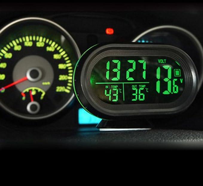 careshine multifunción reloj Digital para coche DC 12 V ~ 24 V con luz LED reloj de coche Digital termómetro medidor de temperatura voltaje: Amazon.es: ...