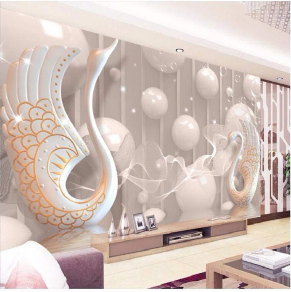 Moderne Fototapete 3D Anaglyphen Schwan Schmuck Blume Wandbild TV Hintergrund Wohnzimmer Schlafzimmer Wand Seidentuch (W)200x(H)140cm