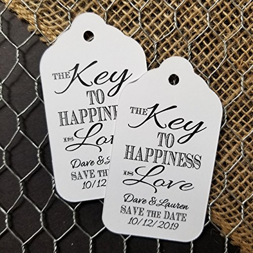 Key to Happiness is Love SAVE THE DATE Personalized White or Tea Stained Favor Tag sets of 175 Tags (my LARGE tag) 3 1/4
