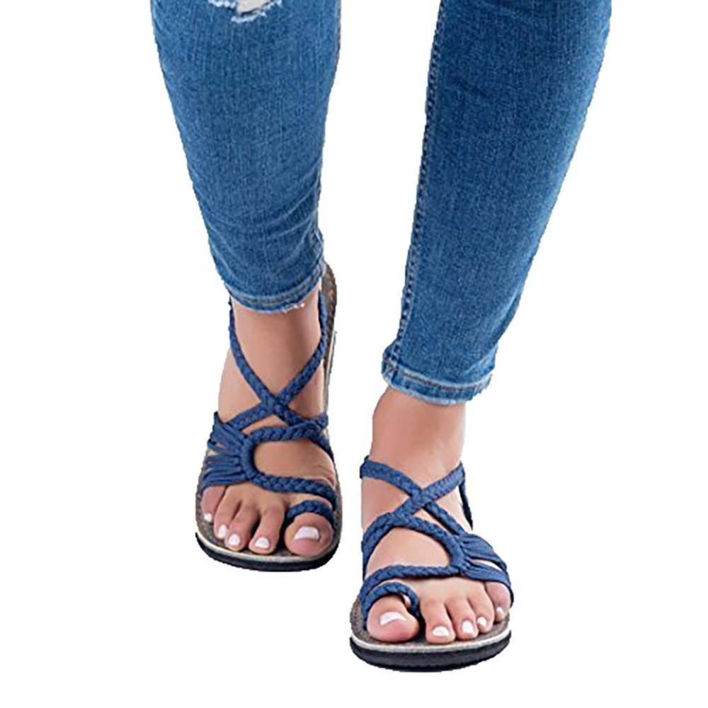bluee Icerom Elegant Womens Fashion Criss Cross Braided Strappy Flip Flop Flat Sandals