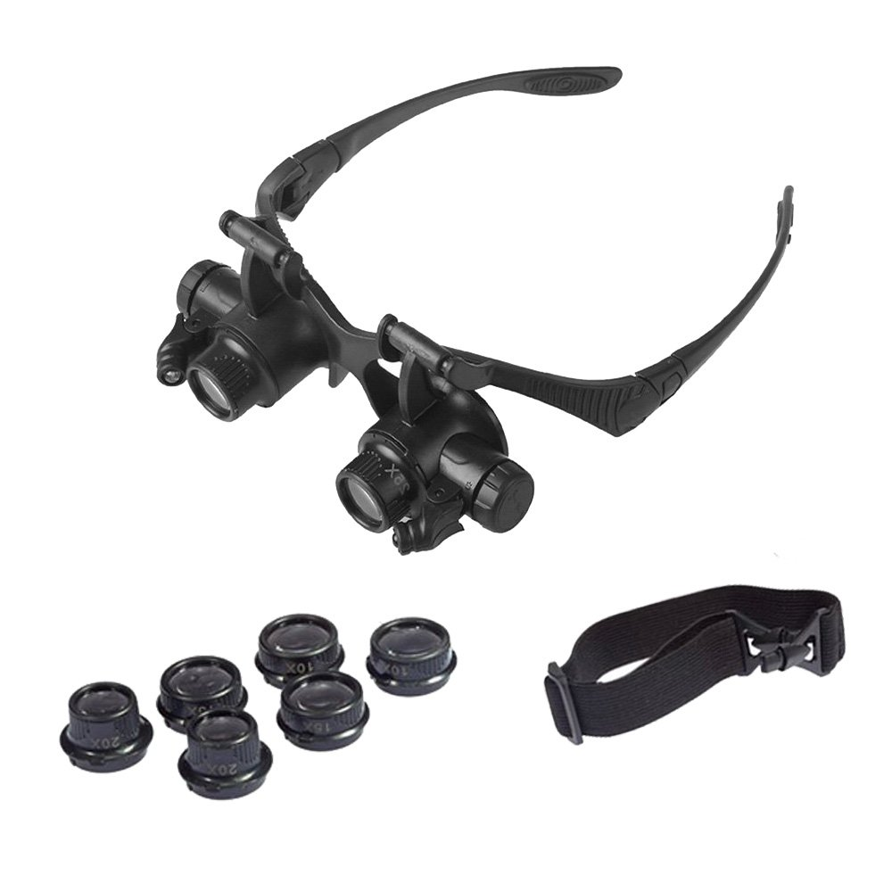 OrchidBest LED Illuminated Magnifying Glasses Head-Worn Eyes Loupe Magnifier Coin Magnifier Jewelry Magnification Glasses PCB Magnifier, Visor Glasses with 4 Lenses 10X 15X 20X 25X