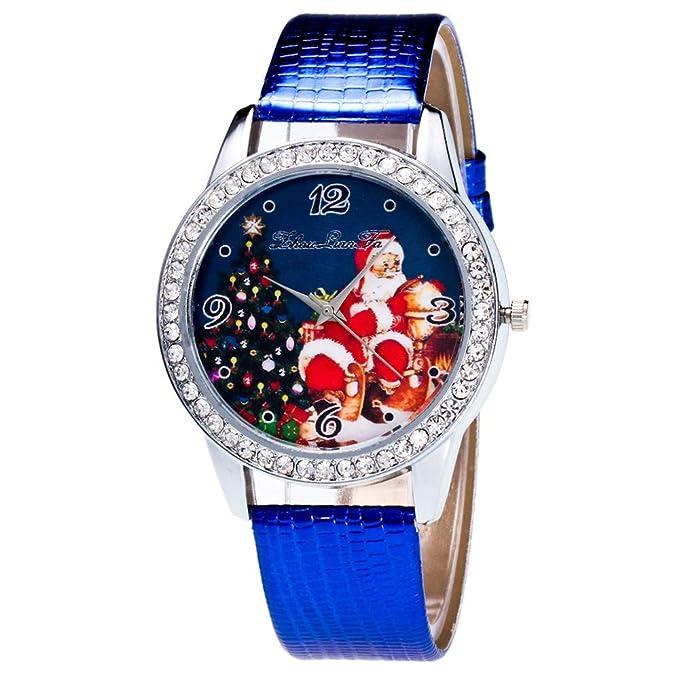 DressLksnf_Reloj con Diamante Moda para Mujer Pulsera del Reloj Metal Durable Brazalete de Reloj Bonito Cadena de Cuero Elegante Superficie de Estampado ...