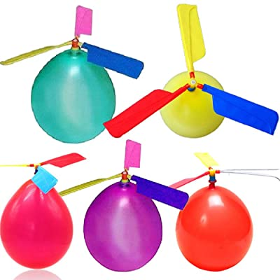 Bysoru 10Pcs Set Balloons Helicopter Flying with Whistle Children Outdoor Playing Creative Funny Toy Balloon Propeller Kid Toys: Garden & Outdoor