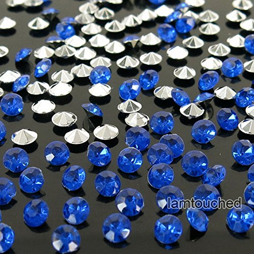 WALLER PAA 2000pcs 4.5mm Wedding Decoration Crystals Diamond Table Confetti Party Supplies (Silver Royal Blue) (Decorated Square Knob)