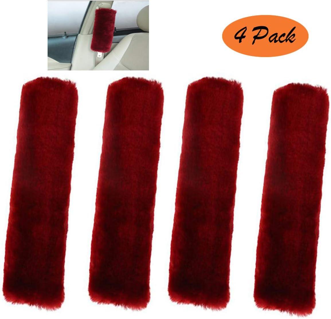Black GIJITIF 4 Pack Car Seat Belt Pads Shoulder Cover with Velcro Adjustable Baby Safety Belt Protector Soft Faux Wool Plush Shoulder Strap