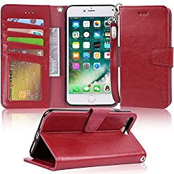 Iphone 7 Plus Case, Iphone 8 Plus Case, Arae Pu Leather Wallet Case With Kickstand & Flip Cover For Iphone 7 Plus (2016)iphone 8 Plus (2017) - Wine Red